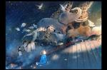 Обои Девочка сидит на ступеньках и смотрит на бегущих животных-слона, жирафа, льва, оленя, пингвинов, летящих птиц и плывущих рыбок