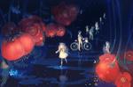 Обои Девочки и мальчики между красными цветами