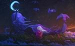 Обои Девочка и дух неба на поляне с цветами, by sylar113