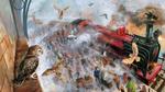 Обои Над платформой 9 3 / 4, Кингс-Кросс кружат совы, иллюстрация к фильму Гарри Поттер / Harry Potter