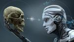 Обои Робот смотрит на взятый в руку череп, by Vitaliy Sokol