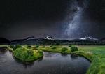Обои Ночной пейзаж природы на фоне млечного пути в звездном небе, by John Qu