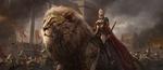 Обои Воительница едет верхом на гигантском льве, в сопровождении воинов, по полуразрушенному древнему городу, by shuo SHI