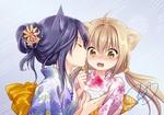 Обои Две neko-girls / неко-девушки, одетые в кимоно и кушая фруктовый лед, собираются поцеловаться