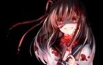 Обои Аниме девушка с красными глазами, запачканная кровью, улыбаясь, держит в руках красный цветок