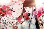 Обои Девушка с розами, by kuroe