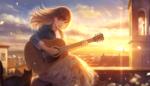 Обои Девушка с гитарой и кошка на крыше дома в лучах солнца, by romiy
