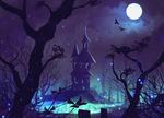Обои Дом с привидениями под ночным небом с полной луной, by DaisanART