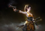 Обои Девушка-самурай в боевой стойке с пистолетом и двумя катанами на темном фоне