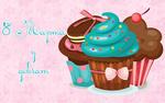 Обои Три кекса с кремом и ягодами на розовом фоне с цветами (8 Марта у девчат)