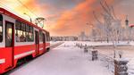 Обои Трамвай на заснеженной улице Санкт-Петербурга, Россия