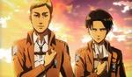 Обои Командиры разведкорпуса Levi / Леви и Erwin Smith / Эрвин Смит из аниме Вторжение гигантов / shingeki no Kyojin, art by Hajime Isayama