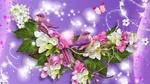 Обои Весенний коллаж к 8 Марта с цветами, птичками и бабочкой на сиреневом фоне