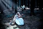 Обои Девочка, в образе ангела, сидит в лесу, рядом с зайчиком и смотрит на летящего голубя, by Mick Cam