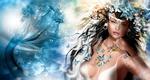 Обои Девушка-русалка на фоне бабочек, рыб и медуз