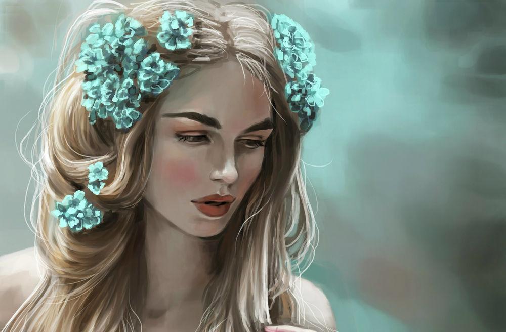 Обои для рабочего стола Девушка с цветами на волосах, by JuneJenssen