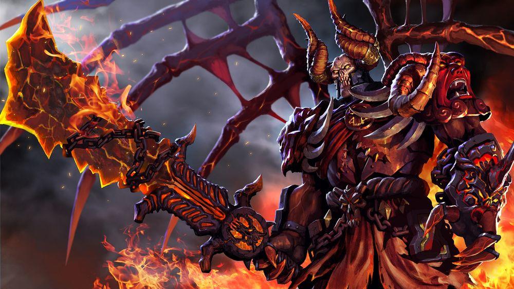 Обои для рабочего стола Демон Doom / Дум - герой игры Дота 2 / Dota 2 стоит среди огня с мечом