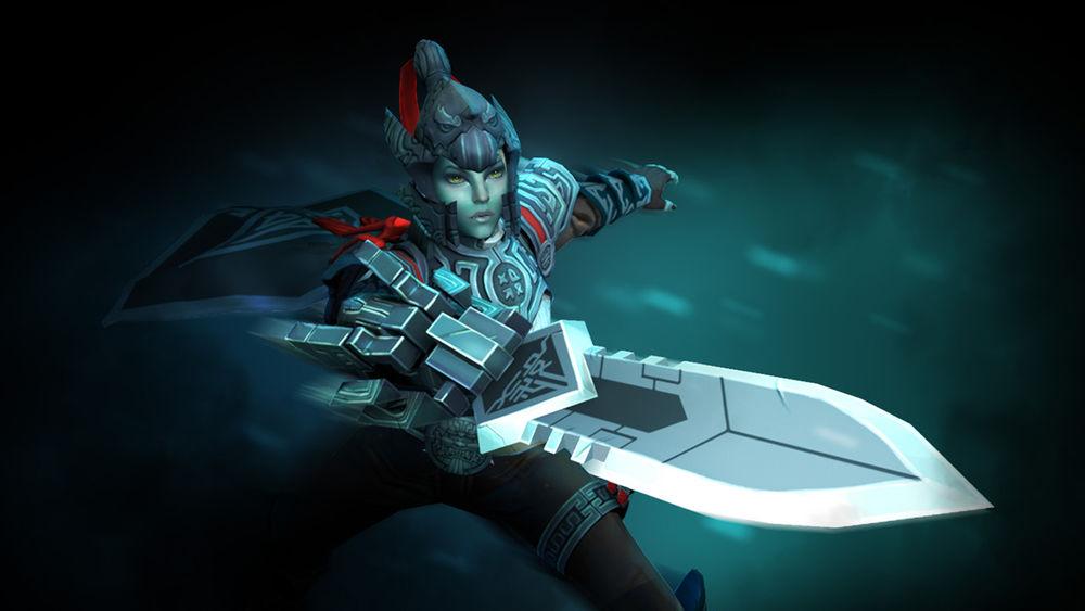 Обои для рабочего стола Phantom Assassin / Призрачная Убийца - герой игры Дота 2 / Dota 2 направляет свой меч на жертву