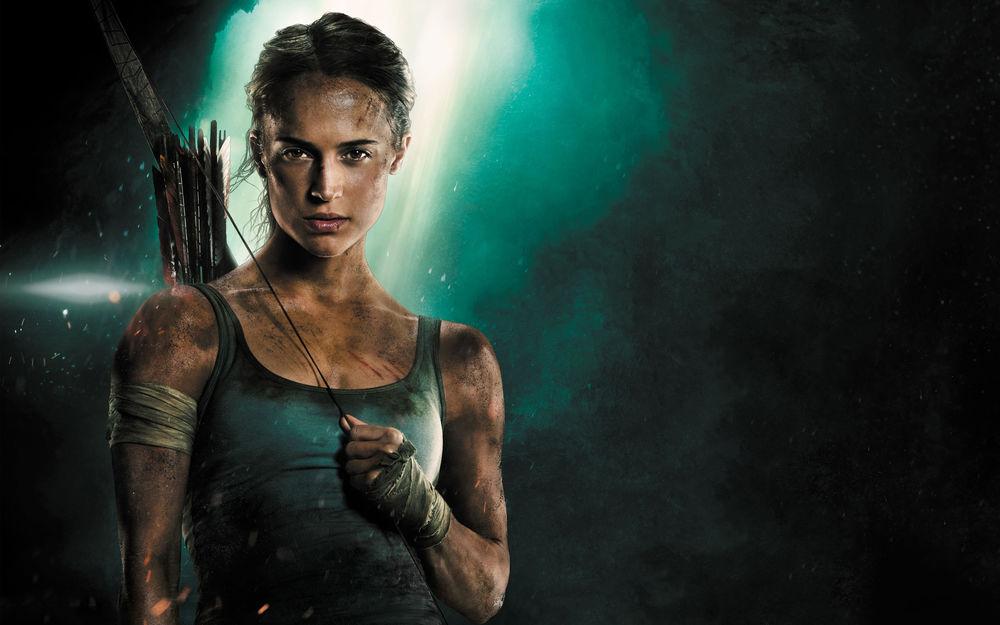 Обои для рабочего стола Актриса Alicia Vikander / Алисия Викандер в образе Lara Croft / Лары Крофт, арт к фильму Tomb Raider / Расхитительница гробниц: Лара Крофт