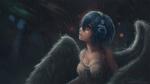 Обои Белокурый ангел с синими волосами и наушниками под дождем, by TMiracle
