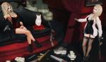 Обои Девушки с оружием в комнате с деньгами и наркотиками, белая кошка на диване, by Emily Lemton