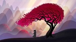 Обои Samurai Jack стоит поодаль от розового дерева