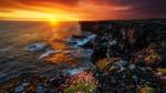 Обои Горное побережье на закате солнца, Iceland / Исландия, фотограф Blai Figueras