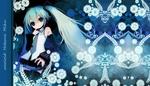 Обои Vocaloid Hatsune Miku / Вокалоид Хатсуне Мику стоит на фоне цветочного узора