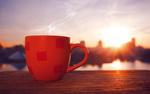 Обои Красная чашка на фоне солнца