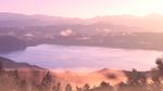 Обои Горное озеро в утреннем тумане, пейзаж из аниме Твое имя