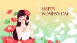 Обои Девушка красит губы возле красных цветов (Happy womens day / Счастливого женского дня)
