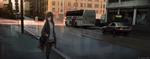 Обои Девочка - аниме с сумкой идет по мокрому тротуару в городе
