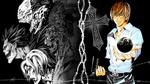 Обои Лайт Ягами / Light Yagami из аниме Тетрадь смерти / Death Note держит планету Земля