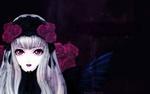 Обои Суйгинто / Suigintou из аниме Девы Розена / Rozen Maiden с красными розами во тьме
