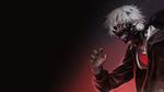 Обои Кэн Канэки / Ken Kaneki из аниме Токийский монстр / Tokyo Ghoul в маске на темном фоне с красным свечением