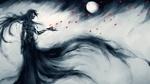 Обои Ичиго Мугецу / Ichigo Mugetsu из аниме Блич / Bleach под луной пускает по ветру с ладони красные лепестки