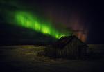 Обои Заброшенный домик на фоне северного сияния, by hmetosche