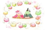 Обои Две птички, одетые в традиционные наряды, окруженные другими птичками и десертами