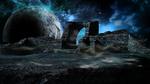Обои Руины древней стены, покрытые туманом, на фоне планеты в космосе