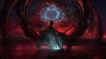 Обои Epiphany II / Богоявленная II сидит на металлической арке, на фоне разноцветной туманности в космосе, by Wen-JR