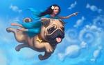 Обои Темноволосая девушка в голубом платье с большим мопсом парит в небе среди облаков похожих на конфеты, by AlexYunak