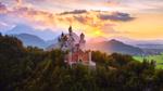 Обои Замок Нойшванштайн / Neuschwanstein на закате солнца, Германия / Germany