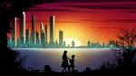 Обои Парень стоит на колене перед девушкой на фоне города на закате, by Michal Kvас