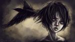 Обои Темноволосый парень с вороном у головы, by Sketchy-Linez