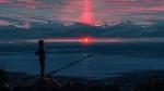 Обои Девушка на фоне заката и моста, by Aenami