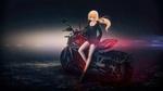 Обои Сэйбер Альтер / Saber Alter с мотоциклом из аниме / визуальной новеллы Fate / stay night / Судьба / Ночь Схватки, by Qoncepts