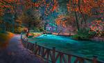 Обои Дорожка в осеннем парке с рекой Bosnia, Sarajevo, Bosnia / Босния, Сараево, Босния, фотограф Mevludin Sejmenovic