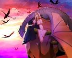 Обои Lindel с драконом сидит на высокой скале, вокруг летают драконы, из аниме Невеста чародея / Mahoutsukai no Yome