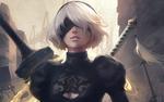 Обои YoRHa №2 тип B из игры NieR: Automata стоит с мечами за спиной