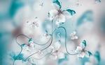 Обои Бабочки из лепестков бирюзовых и белых цветов на размытом фоне, автор Seqoya